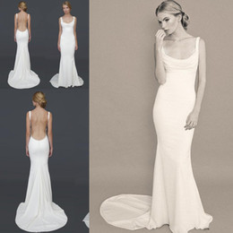 Wholesale 2015 Hot Gorgeous cowl neckline Open back Sexy Wedding Dresses Affordable Recommend Barcelona Bridal Gowns under