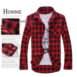Wholesale 2014 new free shopping Men s Long Sleeved Flannel Casual Plaid Shirt Men Checkered Dress Shirts Slim Stylish Fashion