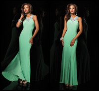Wholesale Fast Delivery Sparkle Prom Dress Halter Sheath Ankle Length Chiffon Sleeveless Pearls Sequined Crystals Trim Ribbon Green Prom Dresses