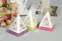 Cheap 2014 New Yellow Purple Trilateral Shaped Embossed Hollow Out Candy Gifts Chocolate Favor Holders For Wedding Party Creative Candy Boxes