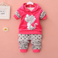 Cheap 2014 baby girl Outfits children Clothing Sets Suits cute cat hoodies Tee Tops dot trousers kid T Shirt+ Pants