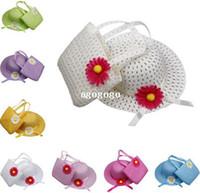 Wholesale Lovely Sunflower Kids Girl Casual Children Beach Sun Straw Hat Cap Straw Tote Handbag Bag Set fit Years child