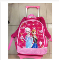 Wholesale 2014 new Frozen trolley bags school bag girl hot selling wheeled bags Canvas wheeled Schoolbag baby toy for kids best gift frozenc373