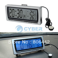 Wholesale Multifunction Car Clock with Hygrometer LCD Display Digital Automotive Interior And Exterior Thermometer Silver