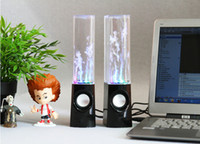 Cheap Wholesale - Cheap Dancing Water Speaker Active Portable Mini USB LED Light Speaker For PC MP3 MP4 PSP Free DHL