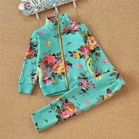 Cheap Autumn Winter Outfits Children Girl's 2 Pcs Long Sleeve Zipper Jacket Casual Outfits, Flower Print Top+Pant,Chic Outfits, 5 Sets Lot