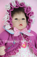 "Cheap Wholesale-Reborn baby dolls 22"" Lifelike Girl Doll For Children handmade silicone vinyl baby doll collection toys"