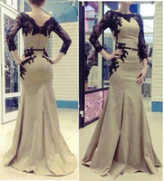 Cheap Wholesale - Free Shipping 2014 New Elegant Arabic Kaftan Evening Dresses Women With Long Sleeves And Applique Lace Satin Abaya Dubai Evening