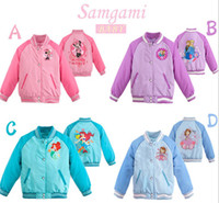 baseball jackets - 2014 In Stock Froze Elsa Anna Children Girls Long Sleeve Jackets Cartoon Sofia Kids Clothing Baseball Coat Childs Minnie Mouse Tops H1229