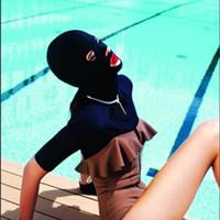 Wholesale Hot Face Gini Diving cap sleeve swim caps waterproof female head and face mask UV sunscreen Gini pretty face pyrene ni Swimming Cap Headgear