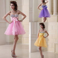 Cheap 2014 Real Image Sweetheart Homecoming Short Prom Dresses Purple Pink Blue White Yellow Beads Cocktail Graduation Party Gowns Cheap Under $50