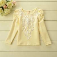 Cheap Cute Girl Tops Clothes Kids Wear Korean Style Sweet Girls Dresses Boutique Children's Clothing Puff Sleeve Lacework Tees Tshirts J1319