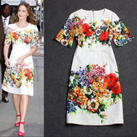 Wholesale 2014 European Grand Prix early autumn big catwalk models palace retro big flower Jacquard Dress A dimensional relief fashion dresses A080