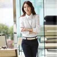 Wholesale 2014 New Fashion OL Shirts blusas Rhinestones Turn Down Collar Long Sleeve White Career Women work wear blusas femininas G0641
