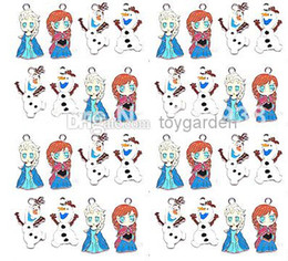 Wholesale Hot sale Style Cartoon Frozen Elsa Anna Olaf Metal Charms Jewelry Make pendants Gifts