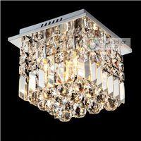 "Cheap 2 Lights W10"" X H10"" New Modern Crystal Chandelier Square Pendant Lamp Rain Drop Design Flush Mount LED Ceiling Lighting Free Shipping"