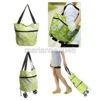 Cheap OP-Fashion Lady Women Large Shopping Trolley Dual Wheel Foldable luggage Bag Cart Free Shipping