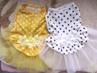 Wholesale 2 white yellow polka dot Small Pet Dog Cat Clothes Dresses xs s m l