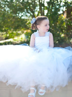 Cheap Elegant Ball Gown Tulle With Lace Flower Girl Dresses 2014 Custom Made kids Party Dresses For Wedding Little Girl Birthday Gowns
