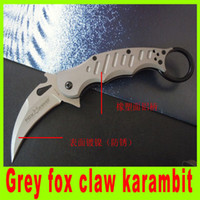 Cheap 2014 new Grey fox claw karambit high quality folding camping pocket knife hunting cutting tools best christmas gift 220L
