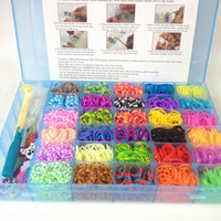 0-12M Multicolor rubebr NEW 30colors 3000pc bands Rainbow Loom bands kit with 100 S clips & 1 big hook & 4 charms loom bands box kit