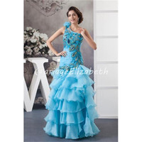 Cheap Formal Gowns Beautiful Peacock Embroidery Satin One-Shoulder Zipper Back Applique Feather Floor-Length A-Line Prom Dresses C-013