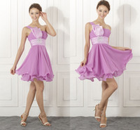 Cheap Model Pictures purple bridesmaid dress Best A-Line One-Shoulder chiffon bridal dresses