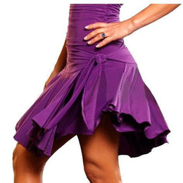 Wholesale 2pcs color Waist Knot Short Ball Gown Women Latin Salsa Rumba Cha Cha Ballroom Costume Performance Dance Dress skirt tl022