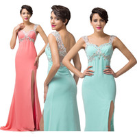 Wholesale Grace Karin New Split Front Backless Chiffon Prom Dresses Long Beaded Evening Gown Formal Party Dress CL6113