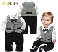 Cheap 2014 New Fashion boys cool romper baby gentleman boys cool romper baby gentleman long sleeve jumpsuits kids one piece autumn clothing popula