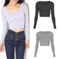 Wholesale Fashion Womens Ladies Long Sleeve Crop Top Round Neck T Shirt Sexy Blouse Colors DH04