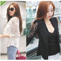 2017 Fall Autumn Suit Coats Fashion Women's Lace Suit Korean Long Sleeve Blazers Coat Jackets Slim OL Ladies Work Suits White Black E76