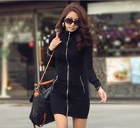 Casual Dresses bodycon dress - 2014 Autumn Korea Fashion Women Casual Slim Zipper Up Long Sleeve Over Hip Bodycon Dress New DH04