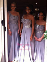 Light Purple Bridesmaid Dresses 2014 Bling One Shoulder Sequ...