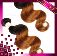 Cheap HOT Ombre Brazilian Virgin Hair Body Wave 3pcs Or 4pcs Lot Ombre Hair Extensions Remy Human Hair Weft Cheap Human Hair Weave Two Tone #1b 30