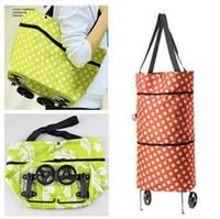 Cheap OP-Free shipping portable shopping cart,foldable shopping trolley tote bag with wheel Rolling folding shopping bag