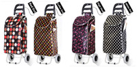 Cheap OP-Wholesale Fold Rolling Cart Low Noise Shopping Bags on Wheels Waterproof Oxford Cloth Large Trolley Top Grade Iron Tube