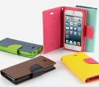 Mercury Portefeuille PU Flip Étui de carte de crédit pour iPhone 4 4S 5 5S 5C Samsung Galaxy S3 S4 Mini Note 3 avec support de stand