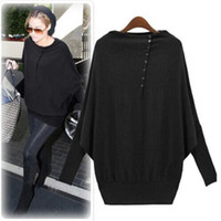 Cheap 2014 Autumn Women Long Sleeve Oversized Batwing Knit Sweater Loose Jumper Pullover Tops DH04