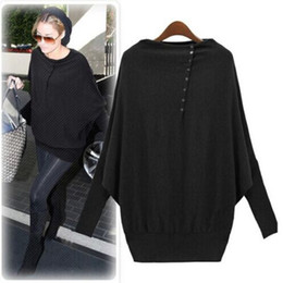 Wholesale 2014 Autumn Women Long Sleeve Oversized Batwing Knit Sweater Loose Jumper Pullover Tops DH04