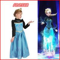 Cheap 2014 High Quality Autumn Frozen Dress Cartoon Princess Anna Cosplay Costume Long Sleeve Dress Girls Party Dresses Kids Christmas Dress