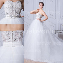 Wholesale 2014 Real Image Ball Gown Wedding Dresses Sheer Sweetheart Crystals Beading with Belt Chapel Train White Tulle Bling Bridal Gowns BZP0374