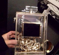 Wholesale Hot Selling Brand Nameplate Perfume Clutch Bottle Shape Clear Box Evening Bag with Chain DT019 lutch Encrusted Famous Acr