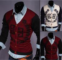 Wholesale Sport suit men cotton Sweaters cardigan Mens Fashion Sweater male outerwear men s V neck coat