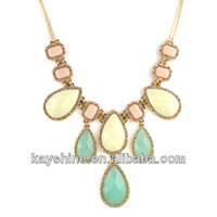 Cheap New Costume Jewelry High Quality Water Drop Designer Colorful Bubble Created Gemstone Necklace
