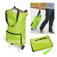 Cheap OP-Free Shipping!!! Portable Folding Pulley Shopping Bag Trolley with Wheel
