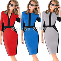 Wholesale Dropshipping Newest Fall Women Elegant Zipper Slimming Stretchy Bodycon Knee Length Dress Fashion Contrast Color Pencil Dresses