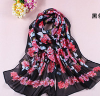 Wholesale Women s Fashion small butterfly flowers chiffon Long Wrap Shawl Beach Silk Scarf Scarves Scarves Wraps