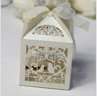 Wholesale x5x8cm Carton Candy Box Love Bird Laser Cut Candy Gift Boxes Wedding Party Favor Box