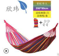 Cheap Cheap new Double camping hammock swing outdoor upset canvas hammock indoor recreational crane qwased